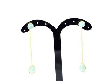 amazonite earring, threader earring,green color earring,gemstone earring,gold plating earring,chain earring,long earring,drop earring