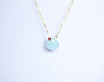 aqua chalcedony necklace,ruby necklace,july birthstone necklace,heart shape necklace,gemstone necklace,red color necklace,chain necklace,