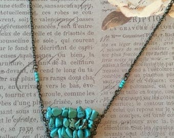 Long genuine Turquoise stone necklace with turquoise seed beads