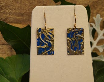 Blue & Gold Embossed Earrings