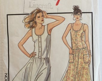 Vintage Style sewing pattern 1314 - Misses' pullover dress in two lengths - drop waist dress - size 14-16