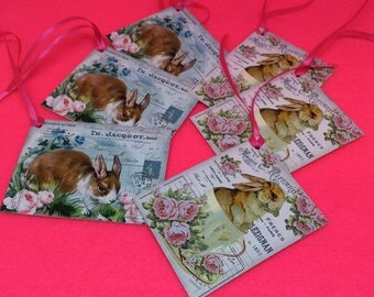 Rabbits tags set of 6 Bunny rabbits tags vintage style cute luxury handmade Easter Birthday gift labels gift wrap scrapbooking