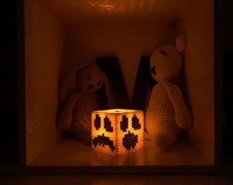 Pumpkin Cube with Led Tealight - Perler Beads