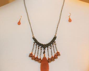 Necklace Orange Aventurine, Swarovski Crystal, and Antique Brass