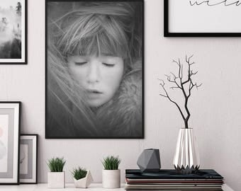 Emotion print, Affiche Scandinave, Poster Skandinavisch, Nordic Wall Art, Girl wall art, Eyes print, Printable Wall Art, Digital Print,Sleep