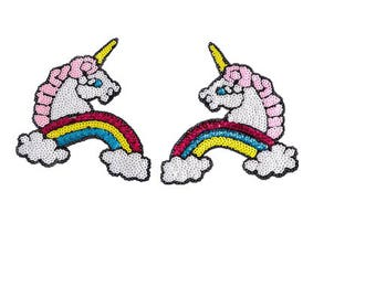 Pair of unicorn(17*15cm) Patch Embroidered Sew On Iron on Patch  Applique