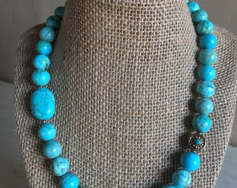 Turquoise with Brass Bead Necklace