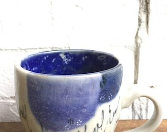 CERAMIC COFFEE MUG, blue dot coffee mug, handmade ceramics, handmade pottery, tea mug, handmade mug, stoneware mug