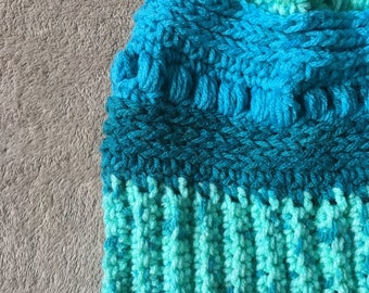 Blues Fitted Gable Beanie; Ready to Ship; Crochet Beanie