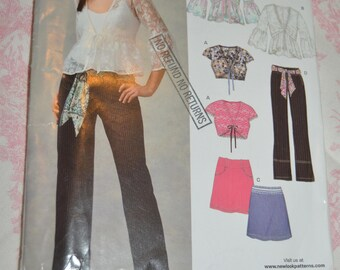 New Look 6660  Junior Tops, Skirt and Pants Sewing Pattern - UNCUT - Size 3/4 - 13/14/