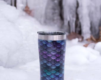 mermaid scale tumbler - fabric tumbler - stainless steel tumbler - 30 ounce - gifts for her