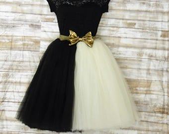 Knee length tulle skirt,black and cream , tutu skirts, wedding skirts, plus size