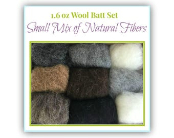 Natural Wool Batt Set, 9 Sorts Felting Wool (0.18 oz each/ 1.6 oz total) Camel Hair, Shetland, New Zealand, Port. Merino, Mongolian, Gotland