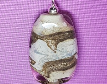 Ivory and Brown Lampwork pendant