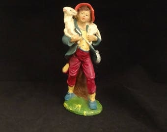 Nativity Young Shepherd Boy with Lamb on Shoulder, Hand Painted Paper Mache Marked Italy