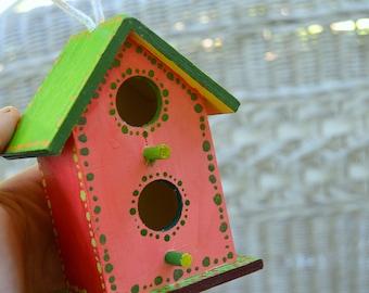 Bird House for Sale Bird House Handmade Colorful Birdhouse Bird House Decor Rustic Birdhouse Whimsical birdhouses Cute Birdhouse Orange