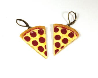Pepperoni pizza earrings, Miniature food earrings, Pizza earrings, Fast food jewelry, Food jewelry, Original earrings