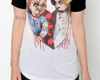 Horror Chucky and Tiffany Baseball Tee Shirt (Women)