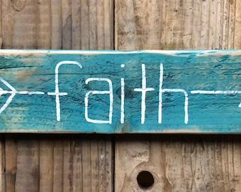 Teal Arrow Faith Wood Sign