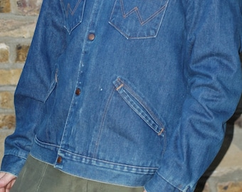 1970's blanket lined Wrangler denim jacket with cord collar, 44