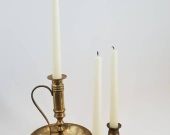 Vintage Brass Candlesticks, Set of 3, Brass Candlestick Collection, Vintage Set of Candlesticks