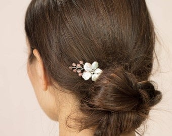Brea hair pin - Keshi pearl blush flower bridal hairpin