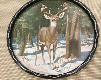 Vintage Deer Tray / White tail deer / Wildlife Home Decor