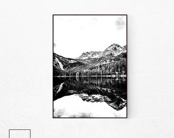 Mountain Reflection, Mountain Lake Print, Mountain Poster Art, Scandi Print, Nordic Mountain, Mountain Landscape, Mountain Print Art.