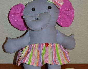 Elephant with striped skirt