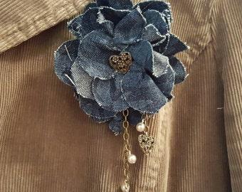 Denim Brooch, Denim Flower Pin, Fabric Jewelry, Denim Jewelry, Denim Hair Accessory, Fabric Flower, Fabric Flower Brooch,Fabric Flower Pin