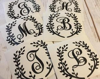 Laurel frame monogram - laurel single letter decal - laurel decal - vinyl decal - monogram letter decal - monogram - custom decal