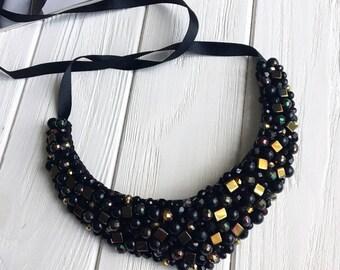 Black bib necklace, black jeweled statement necklace, black bridesmaid necklace, black and crystal statement necklace