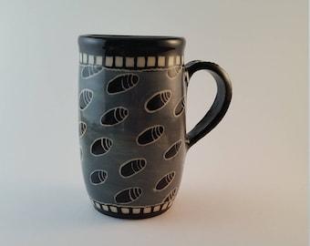 ceramic espresso cup, black and gray sgraffito