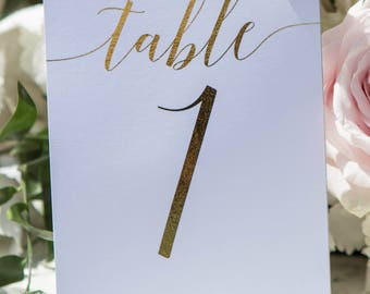 Gold Foil wedding table numbers