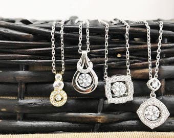 Sterling Silver Twinkle Necklaces With Swarovski Crystals