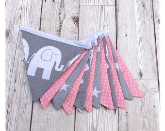 Grey and pink nursery Bunting, elephant bunting, girls bunting, baby bunting, baby shower, newborn, nursery decor