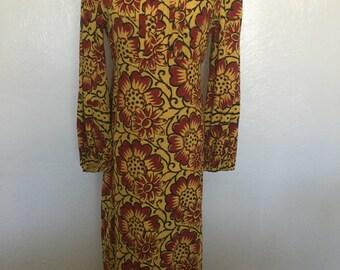 1970s floral maxi dress/maxi dress/boho/bohemian dress/sun dress/-M