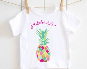 Tropical Funky Pineapple personalised T-shirt - baby shower gift, personalised top, Toddler top, hawaiian, baby outfit, pineapple party top