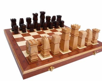 Wooden chess set chess pieces Exclusive handmade big wood chess pieces carving wood chess unique gift for husband Carved wood chess board