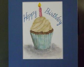 Happy Birthday original watercolor signed