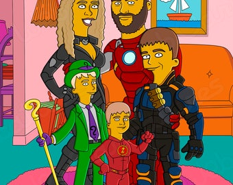 Simpsons  family portrait, Custom YELLOW Character Portrait from your Photo, family portrait, couple portrait, Family Caricature