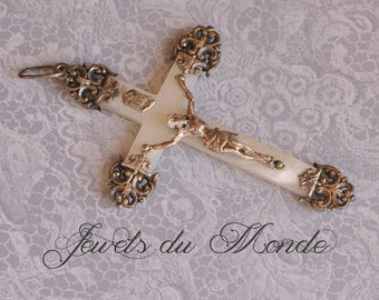 French Ornate Crucifix Catholic Christian Cross Mother of Pearl Sea Shell and Solid Silver For Rosary