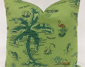 Pillow Cover - Tommy Bahama - Outdoor Fabric - Indoor Fabric - Coastal Pillow - Tropical - Map Design - Green- Dark Green - Lined - Zippered