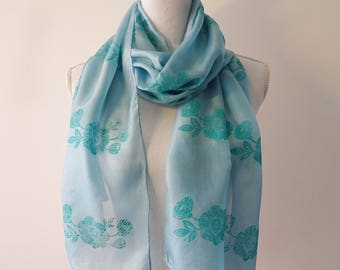 blue foulard of silk with print made by linoleum