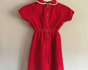 1970s Infant Girls Vintage Red Corduroy Short Sleeve Jumpsuit with Floral Trim