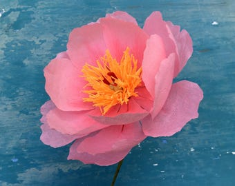 Crepe Paper Peony  - 2 Flowers - Paper Flowers - Wedding - Anniversary - Home Decor - Gift for Her