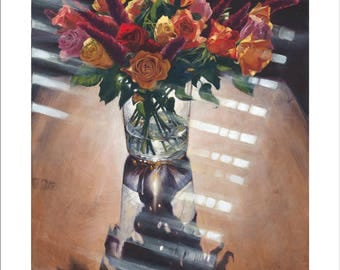 Oil Painting Giclee Reproduction - Juxtaposed, Floral Still Life Painting