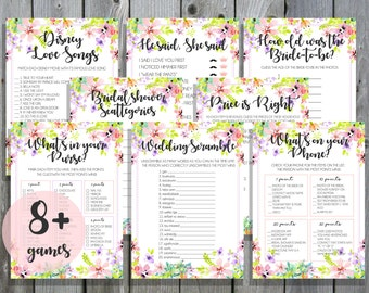 8+ Bridal Shower & Kitchen Tea Games / Printable / Instant Download / Pink Floral / Wedding Games