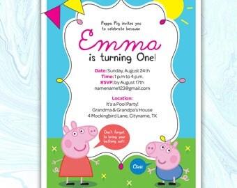 Peppa Pig Invitation, Peppa Pig Birthday Invitation, Peppa Pig Party Invitation, Peppa Pig Invite, Peppa Pig Printable Invite, DIGITAL FILE