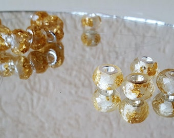 faceted Pandora style beads with copper leaf